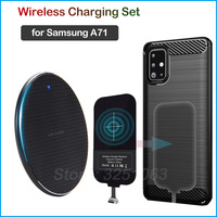 Qi Wireless Charging Device for Samsung Galaxy A71 Wireless Charger & USB Type C Adapter Charging Receiver Gift Phone Case A71 Mobile Phone Chargers    -