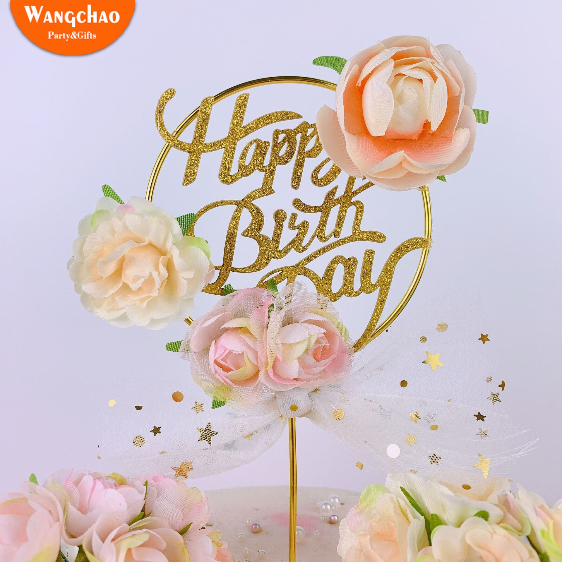 Superb Round Iron Art Happy Birthday Cake Topper With Flower Organza Funny Birthday Cards Online Aeocydamsfinfo