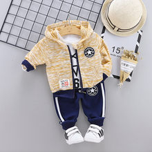 New Autumn Toddler Tee Pants Coat Three-piece Childrens Sets Novel Printed Knitted Boy 0-4Y Cute Baby Clothes