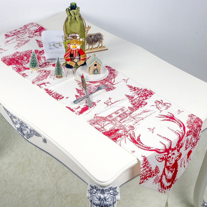 Image 2 - 1PC 35x200cm Christmas Table Runner Mat Tablecloth Christmas Flag Home Party Table Decoration For Christmas Table Runner-in Table Runners from Home & Garden