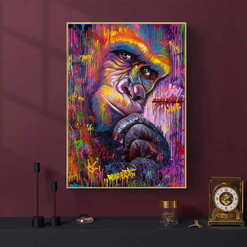 Monos de colores gorila, animal Graffit Arte Abstracto lienzo pintura arte de pared para sala de estar Cubot Max 2 Android 9,0 Octa-Core 6,8