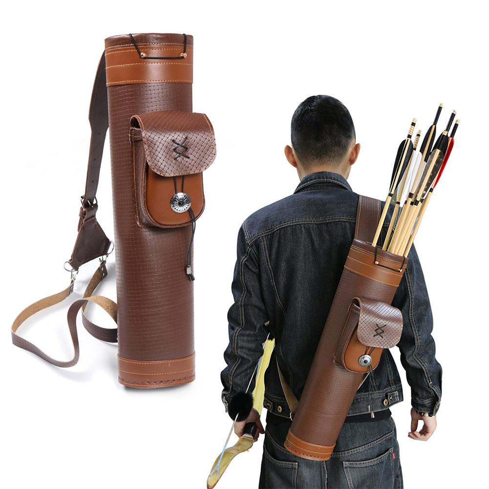 Arrow Holder Box Organizer Genuine Leather Retro Back-mounted Medieval Quiver Traditional Bow Large Pouch Handmade Straps Belt