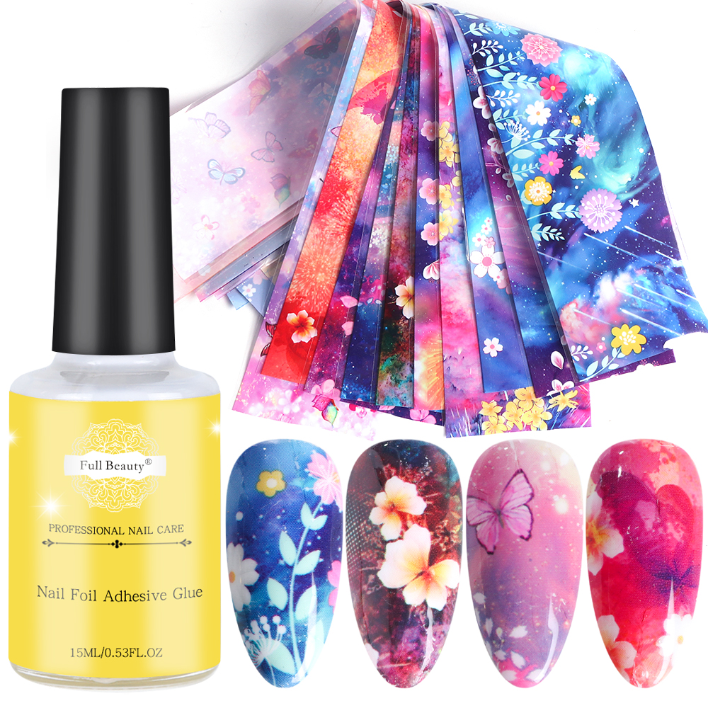 Nail Art Transfer Foils Gel Polish Set Holographic Flower Butterfly Sticker Adhesive Glue For Nail Foil Slider Manicue SAXK123-2