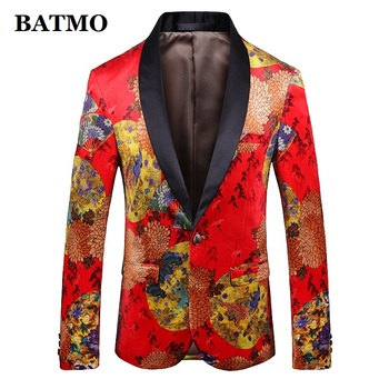 Batmo 2019 new arrival high quality printed casual blazers men,men's casual suits,printed men's jackets plus-size 1908
