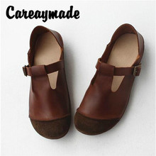 цена Careaymade-Spring new inside and outside full leather pure handmade single shoes,breathable cowhide soft flat sole women's shoes