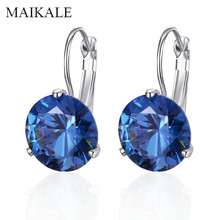 MAIKALE Simple 10MM Cubic Zirconia Stud Earrings Round Colorful CZ Gold Silver Small for Women Jewelry Accessories Gift