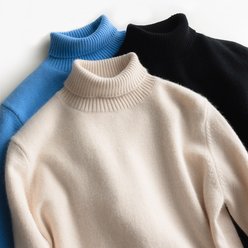 2019 Thick Turtleneck Sweater Men Goat Cashmere Jumper Warm 100% Knitted Pullovers Black Man Clothes Long Sleeve Bottoming Top