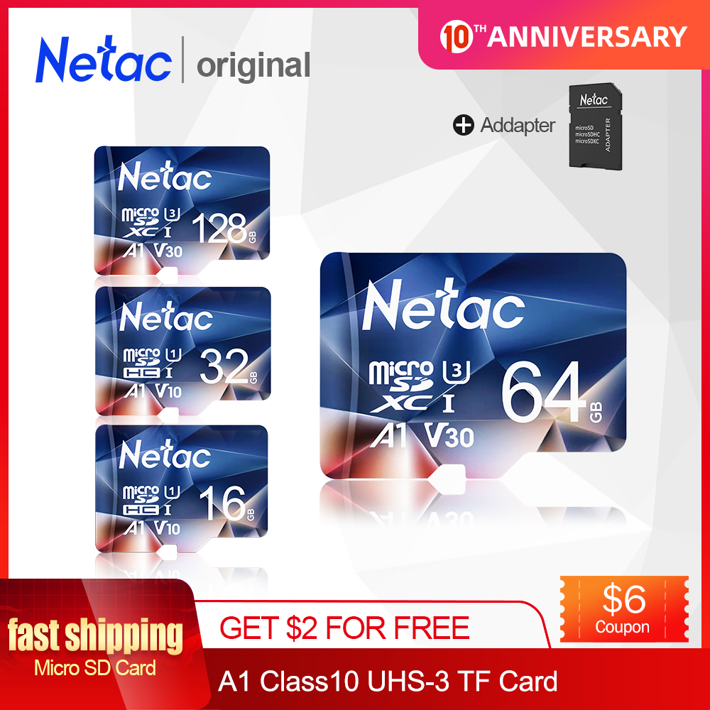 Netac Memory Card Tarjeta Micro SD Card 16GB 32GB 64GB 128GB Class 10 USB Flash Card for Smartphone Adapter SD Card Hot sale title=