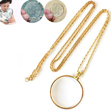 Holiday Gift Zinc Alloy Necklace Reading Magnifier Hanging Ornament Round Gold Silver Necklace 5x Magnifying Single Lens