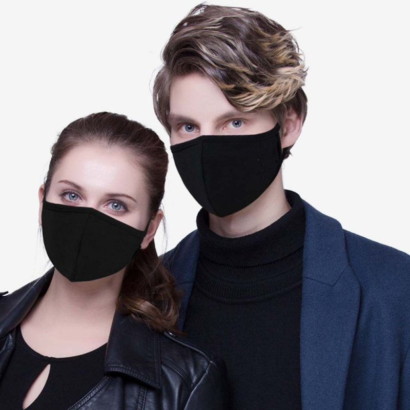 2pcs Black Cotton Face Mask Unisex Mouth Masks Adjustable Anti Dust Face Mouth Masks
