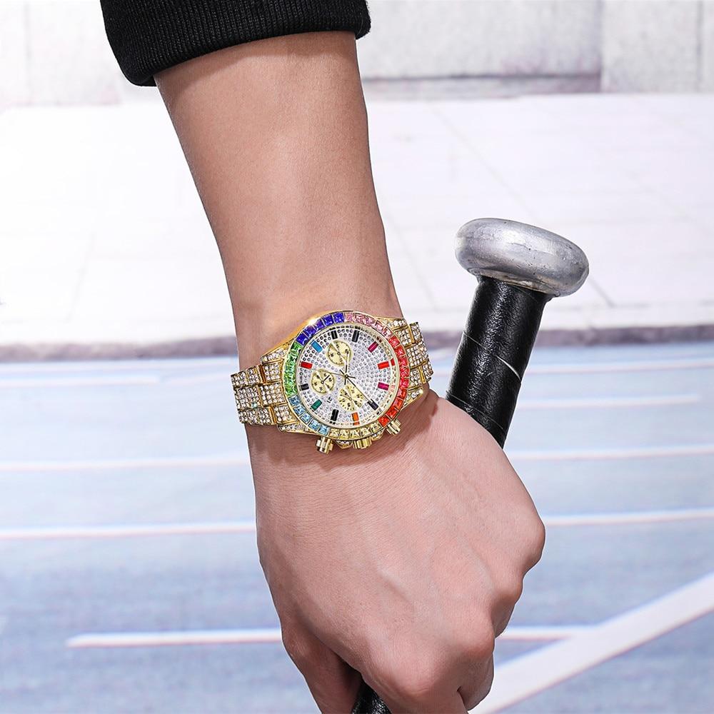 Hommes décontracté or strass montre de haute qualité 3 yeux femmes coloré diamant montres de luxe amoureux calendrier robe montre livraison directe