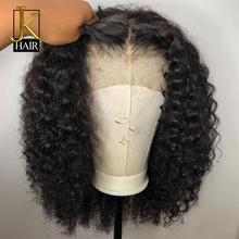 Вьющиеся Боб Синтетические волосы на кружеве парики из натуральных волос для Для женщин натуральные Цвет Remy бразильские 13x4 черный парик шнурка средняя часть 130-150% JK элегантные