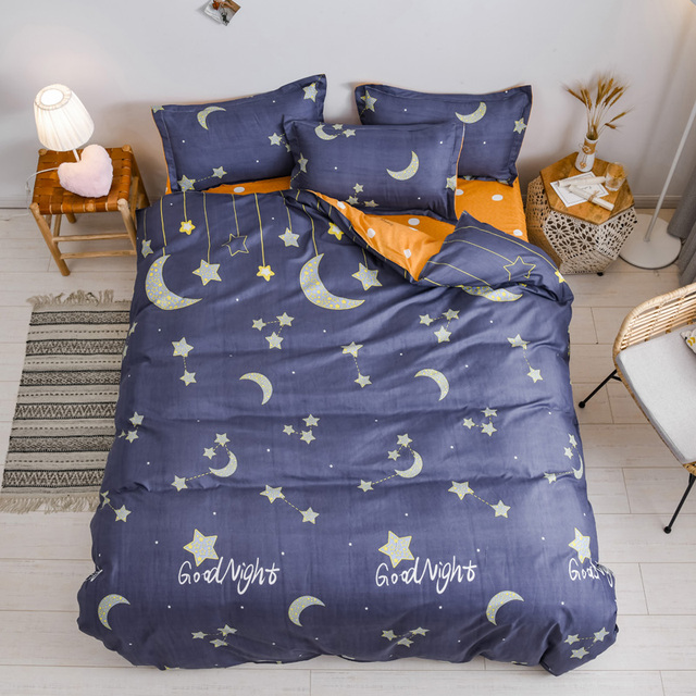 Simple Bedding Set Blue Moon And Stars 21