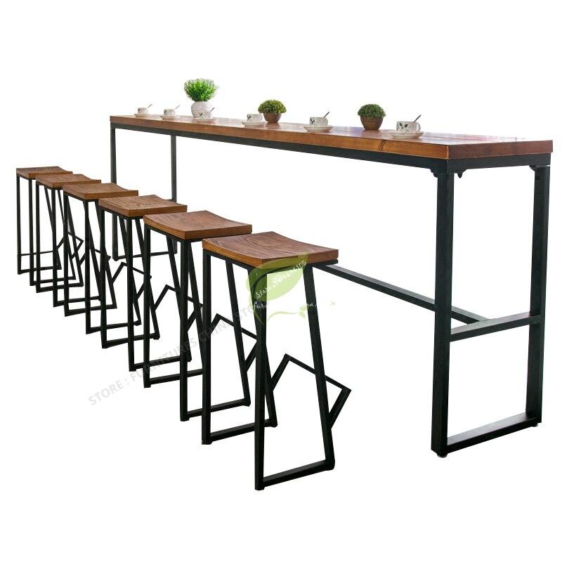 Retro Bar Chair Wrought Iron Bar Stool Solid Wood Bar Stool Creative High Stool Leisure Bar Chair Front Coffee Chair