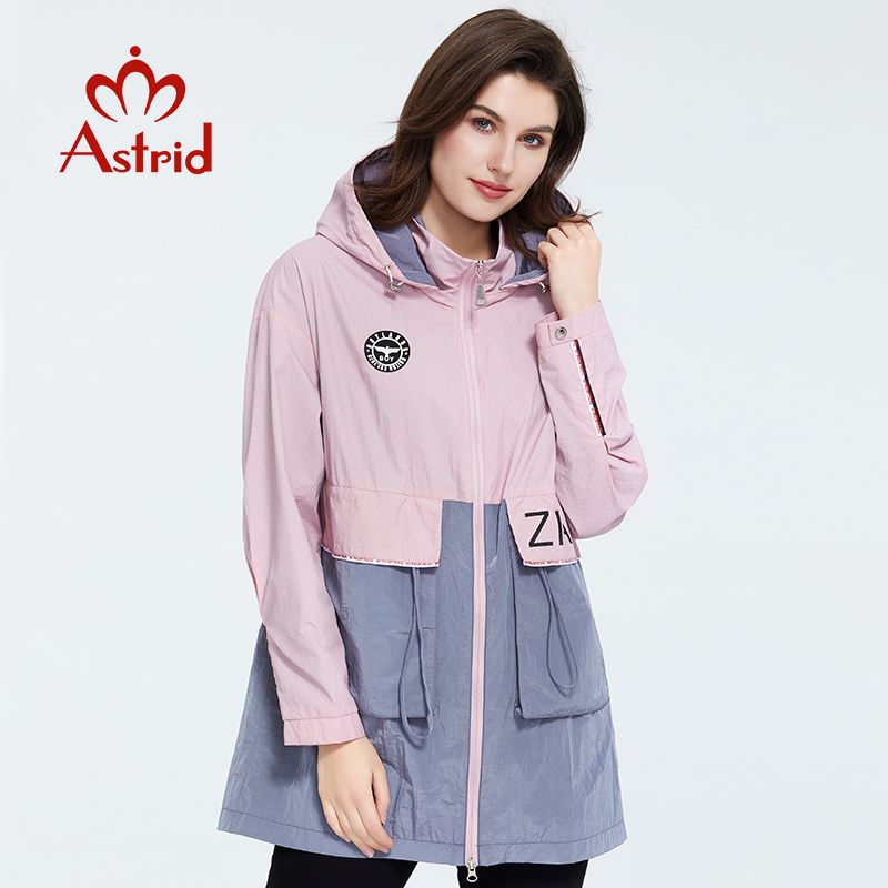 Astrid 2020 New Spring Fashion Mid-length Trench Coat Hooded Casual Sport High Quality Female Outwear Trend Loose Jacket 3068
