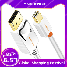 Cabletime Mini Display Port to Display Port Cable mini dp to dp Thunderbolt to DP 4K Cable For Macbook Surface Pro N024