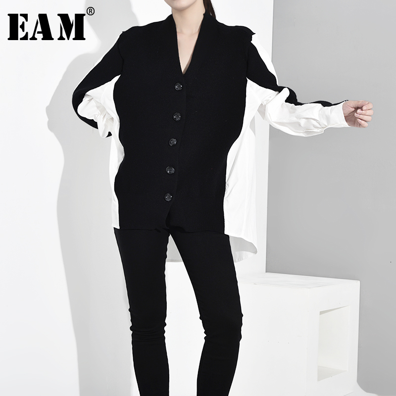 [EAM] Contrast Color Big Size Knitting Sweater Cardigan Loose Fit V-Neck Long Sleeve Women New Fashion Autumn Winter 2019 JO6520