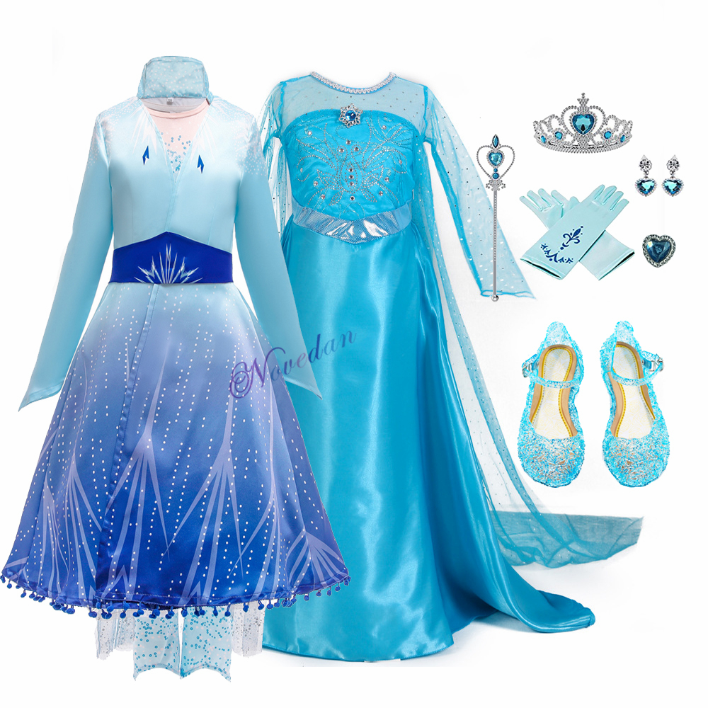 Girls Elsa 2 Dress New Snow Queen Costumes For Kids Cosplay Dress Princess Disfraz Carnaval Vestido De Festa Infantil Congelados