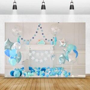 Image 2 - Laeaccoวันเกิดพื้นหลังChic Wallสีฟ้าบอลลูนเมฆธงเตาผิงเด็กถ่ายภาพฉากหลังPhoto Studio