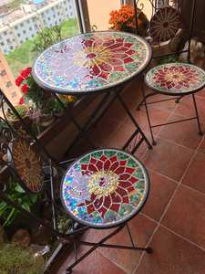 Bistro Table Courtyard Outdoor Indoor-Use of Handicraft Cast-Iron Mosaic Desktop Gold