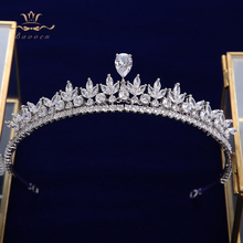 Simple Full Zircon Bridal Tiaras Crowns Plated Crystal Wedding Hairbands For Brides Prom Hair Jewelry