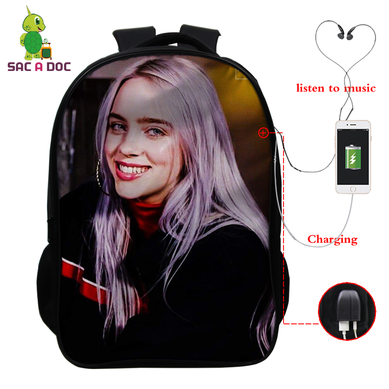 Billie Eilish Backpack Back To School Bags 16 Inch Children Backpacks Kids Knapsack Girls Travel Bagpack USB Charging Backpack