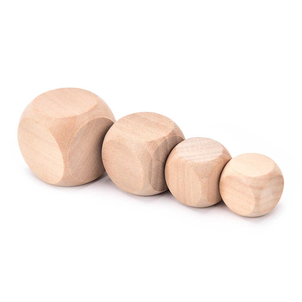 6 צדדי ריק עץ קוביות המפלגה משפחת DIY משחקים הדפסת חריטה קיד צעצועי 18/20/25/30mm