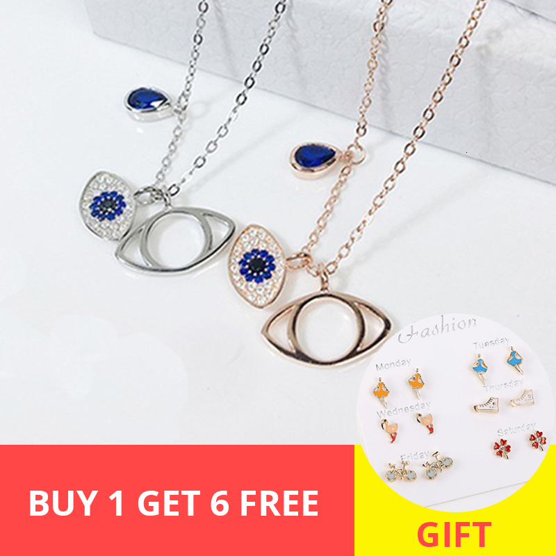2019 new arrival blue stone evil eyes 925 sterling silver necklace for couple necklace fashion jewelry free shipping in Pendant Necklaces from Jewelry Accessories