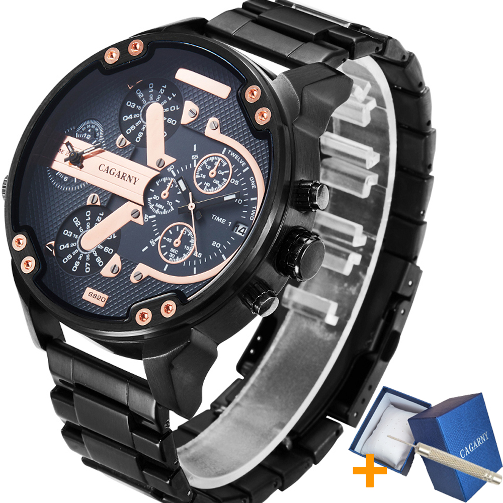 Cool Black Stainless Steel Men Watch Top Luxury Brand Cagarny 6820 Mens Quartz Watches Dual Display Mlitary Relogio Masculino