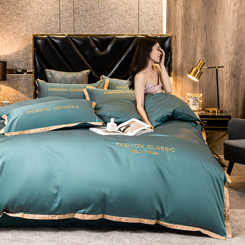 High-end quality Egyptian cotton bedding set embroidered satin light luxury quilt cover duvet cover bed sheet pillowcases 6