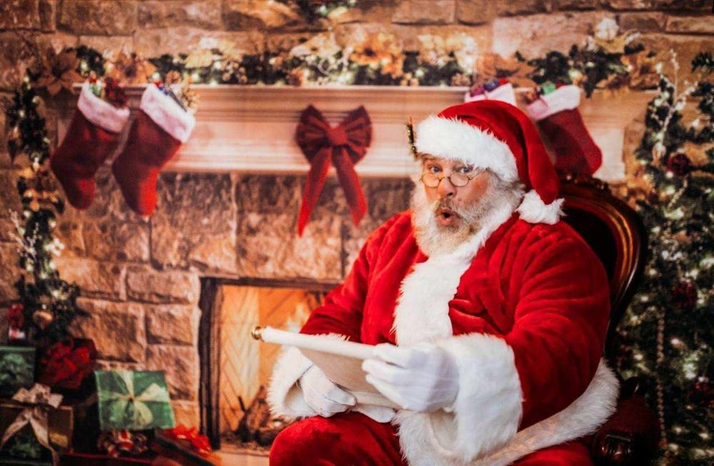 Christmas Photo Background Christmas Tree Brick Wall Fireplace Santa Claus Sock Backdrop for Photography for Photo Studio