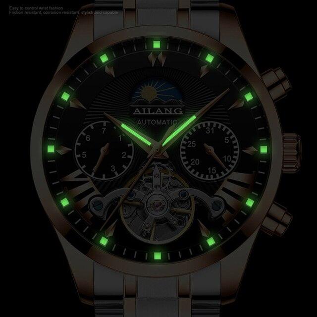 Фото ailang топ люксовый бренд мужские механические часы moon phase цена