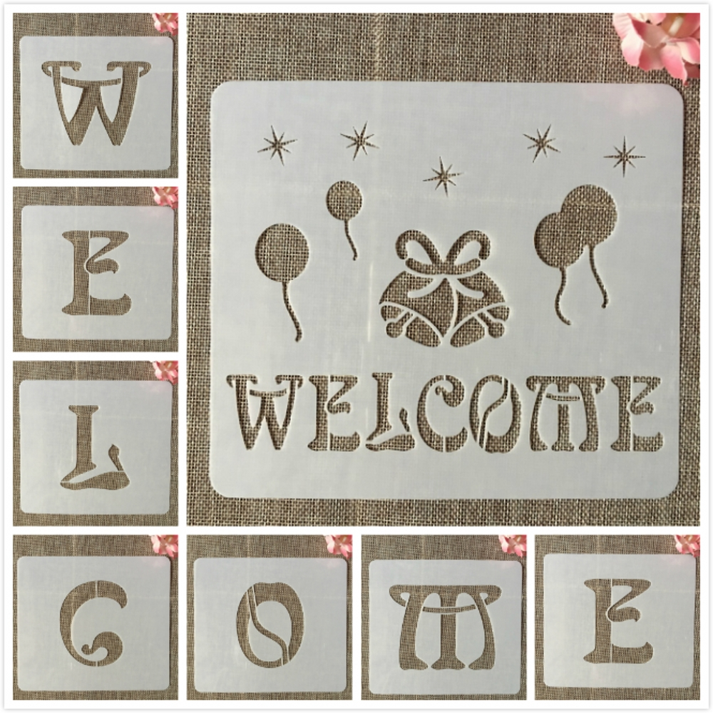 8Pcs/Set 7*8inch Welcome Shop DIY Layering Stencils Wall Painting Scrapbook Coloring Embossing Album Decorative Card Template
