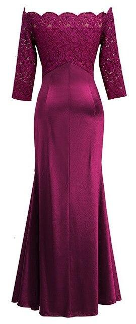 BacklakeGirls Elegant Lace Boat Neck Pleat Long Satin Evening Dress Floor-length Mother Of Bride Dress vestidos de mãe de noiva 3
