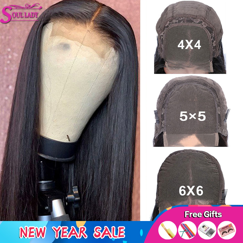 4x4 5x5 Closure Wig 6*6 Lace Closure Wig Peruvian Straight Glueless Transaprent Lace Wig & Medium Brown Lace Wig Remy Hair 150%