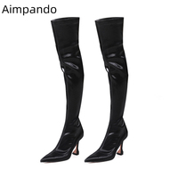 New Chic 2019 Stretch Fabric Thigh High Boots Women Sexy Pointed Toe Goblet Heel Over The Knee Boots Autumn Winter Botas Mujer