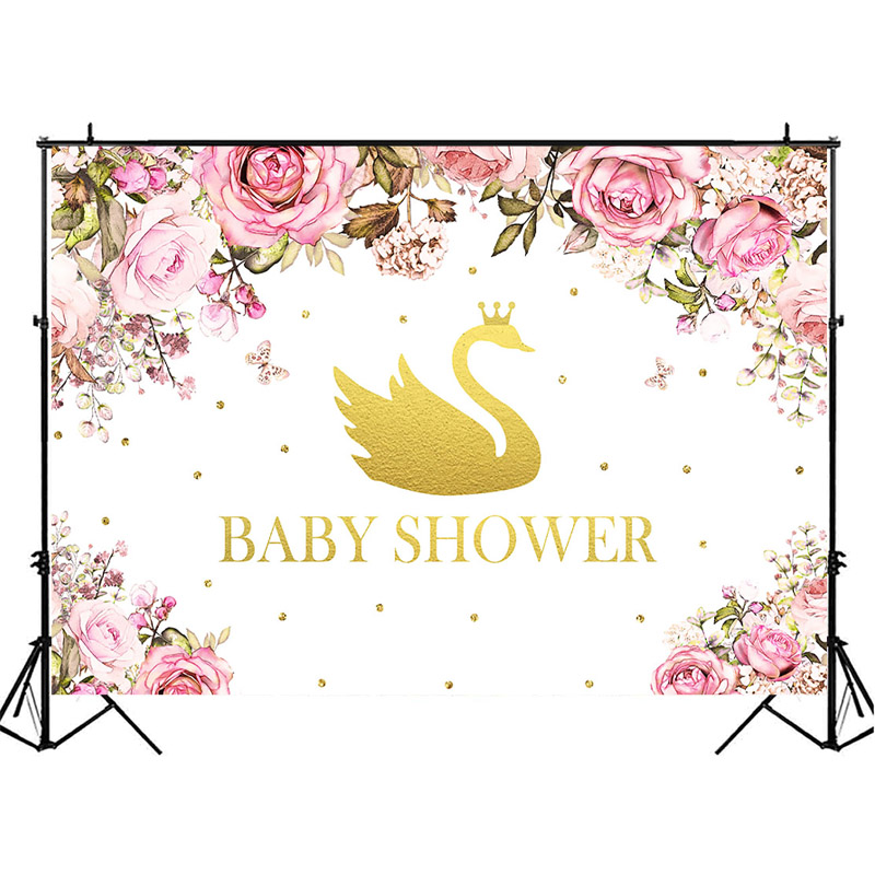 NeoBack Baby Shower Backdrop Golden Swan Crown Baby Shower Photography Backdrops Watercolor Flower Decor Background Photography in Background from Consumer Electronics