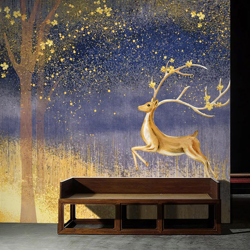Custom Mural Wallpaper For Bedroom Walls Roll 3D Golden Elk Art Wall Painting Living Room Study Room Background Decoration Paper