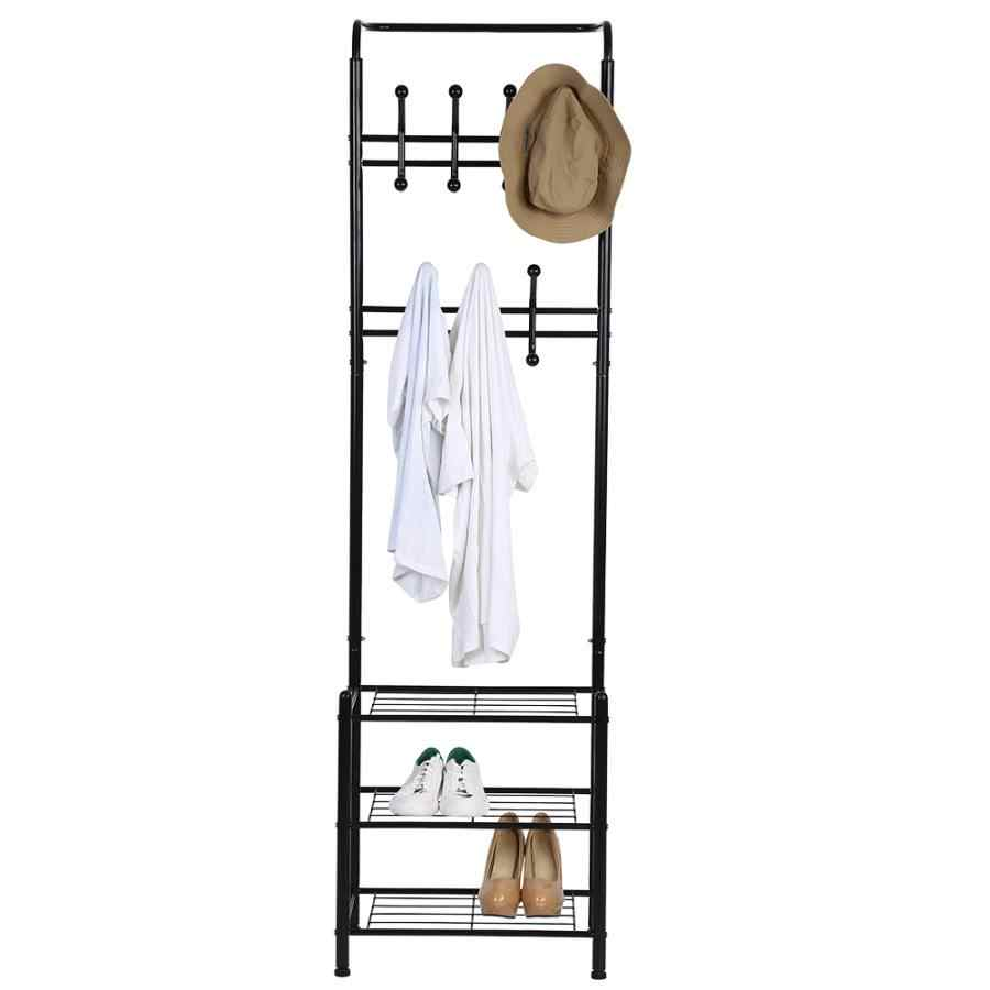 Multipurpose Metal Entryway Coat Rack 14 Hooks 3-Tier Shoe Rack Storage HH