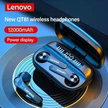 Lenovo nova qt81 atualizar grande capacidade tws fone de ouvido sem fio fone esportes hd chamada display digital suporte carregamento móvel phon