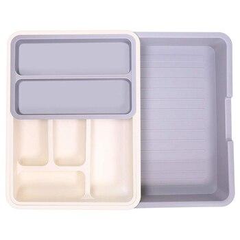 Organizador de cajones de cocina extensible, pequeño utensilio ajustable organizador de cubiertos de plástico bandeja de divisiones de organizador 7 mag