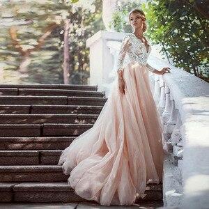 Image 2 - แขนยาวสีชมพูชุดแต่งงาน V คอลูกไม้ Appliques Court รถไฟสายเปิดด้านหลังชุดเจ้าสาว Vestidos de เจ้าสาว