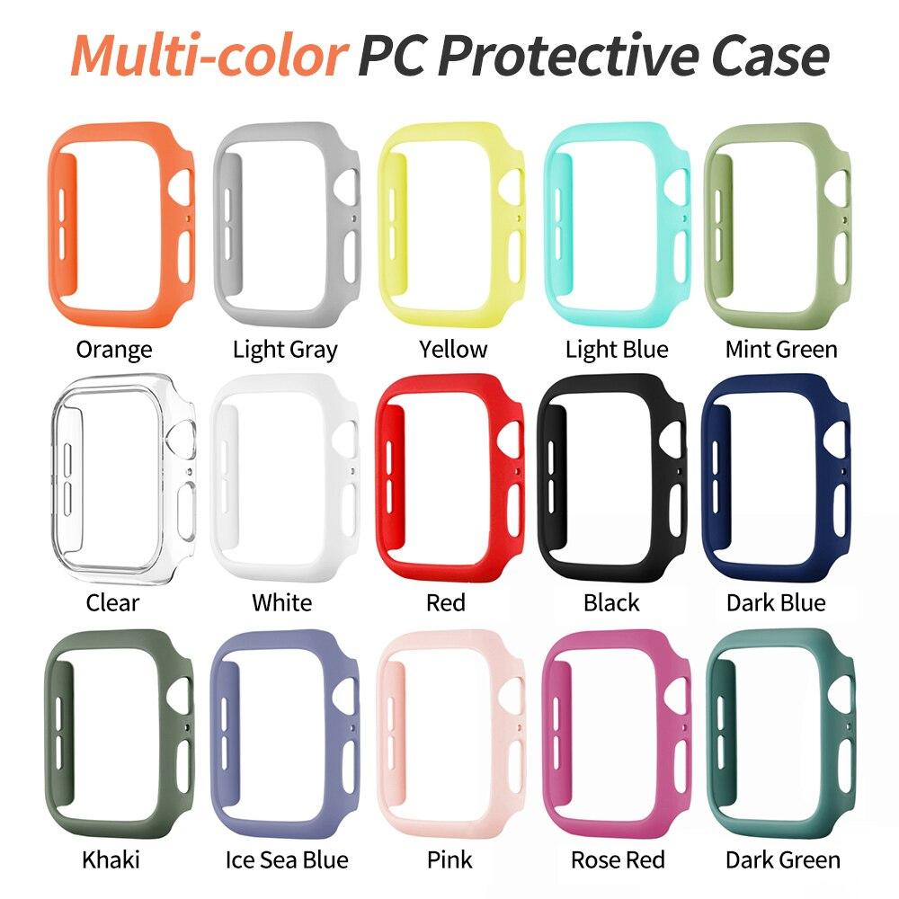 Модный Цветной Твердый чехол из поликарбоната для Apple Watch SE, чехол серии 6, 5, 4, 3, Матовый Бампер 40 мм, 44 мм, 38 мм, 42 мм для iWatch, защитный чехол