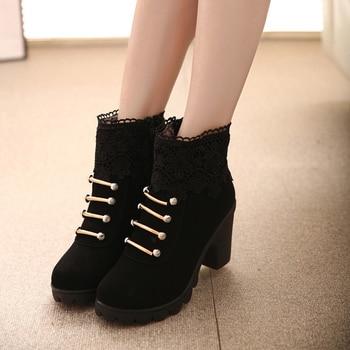 2019 Fashion Women Ankle Boots High Heels Fashion Shoes Woman Platform Boots Side zipper Shoes Female