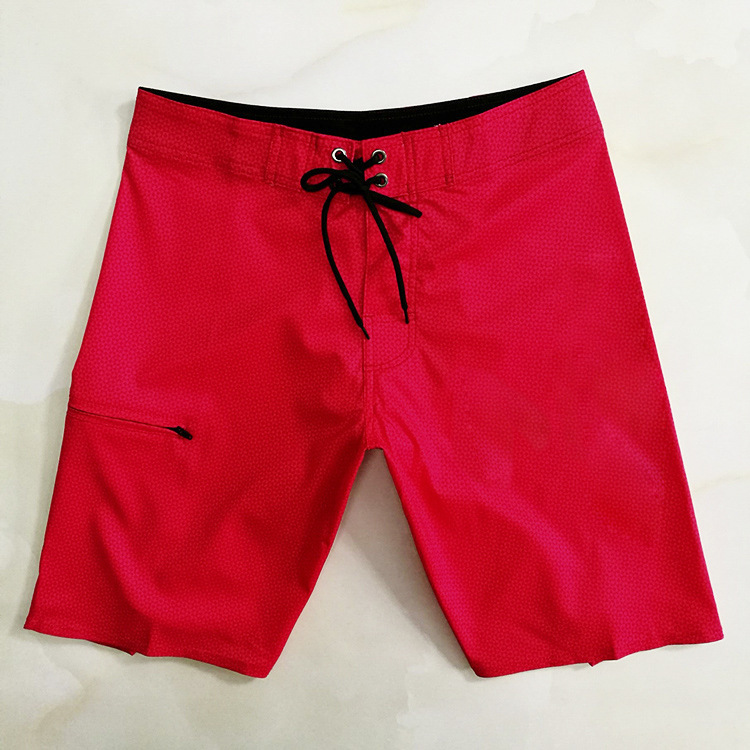 Chinese Red Beach Shorts MEN'S Red Export Novel-Long Shorts Sewer Quick-Drying Five Shorts Casual