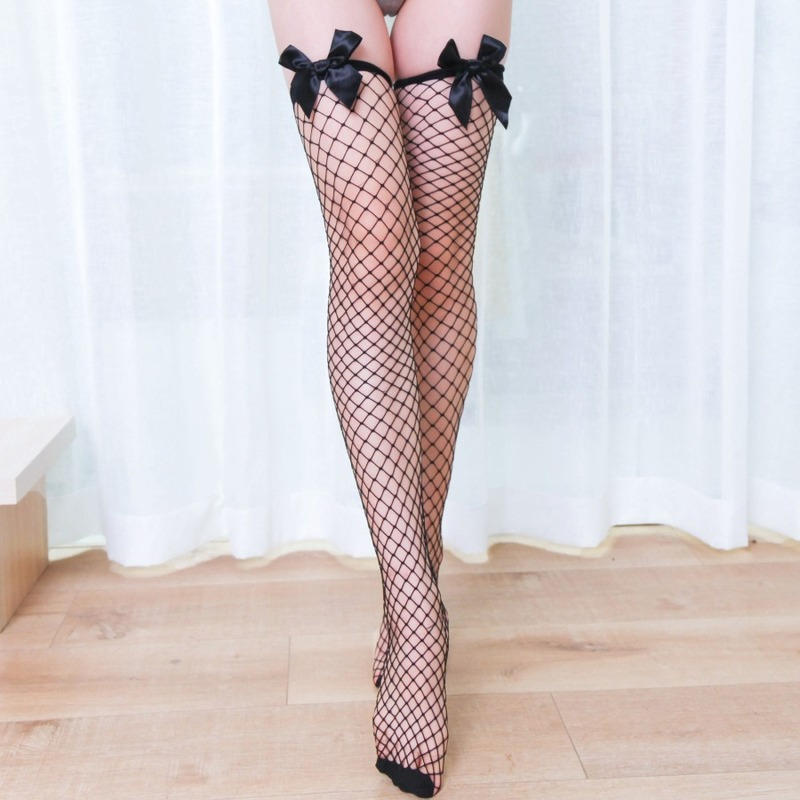 Sexy Thigh Highs Fishnet Stockings Large Mesh Bow Tie Elastic Hosiery Black Stocking For Women Girl Lady