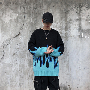 Sweater Men Streetwear Retro Flame Pattern Hip Hop Autumn New Pull Over Spandex O-neck Oversize Couple Casual Men's Sweaters