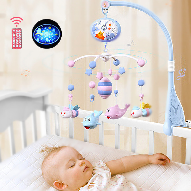Baby Rattles Crib Mobiles Toy For 0-12 Month Music Bed Bell Projection Teether Pendant Toddler Early Education Sensory Toys