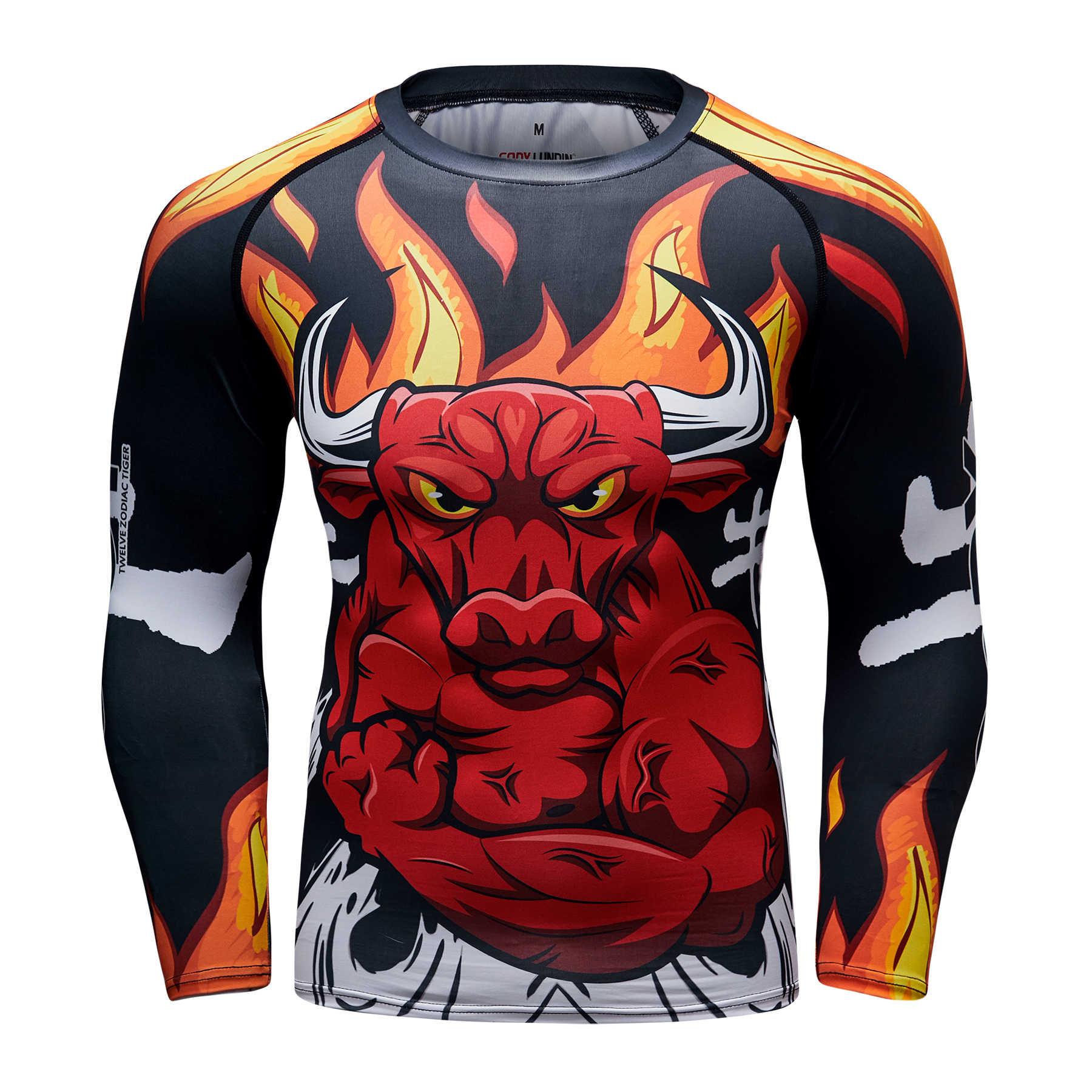 Camisa de compressão rashguard rashguard lange mouwen 3d afdrukken camiseta mma fitness mannen sneldrogende halterofilismo topo