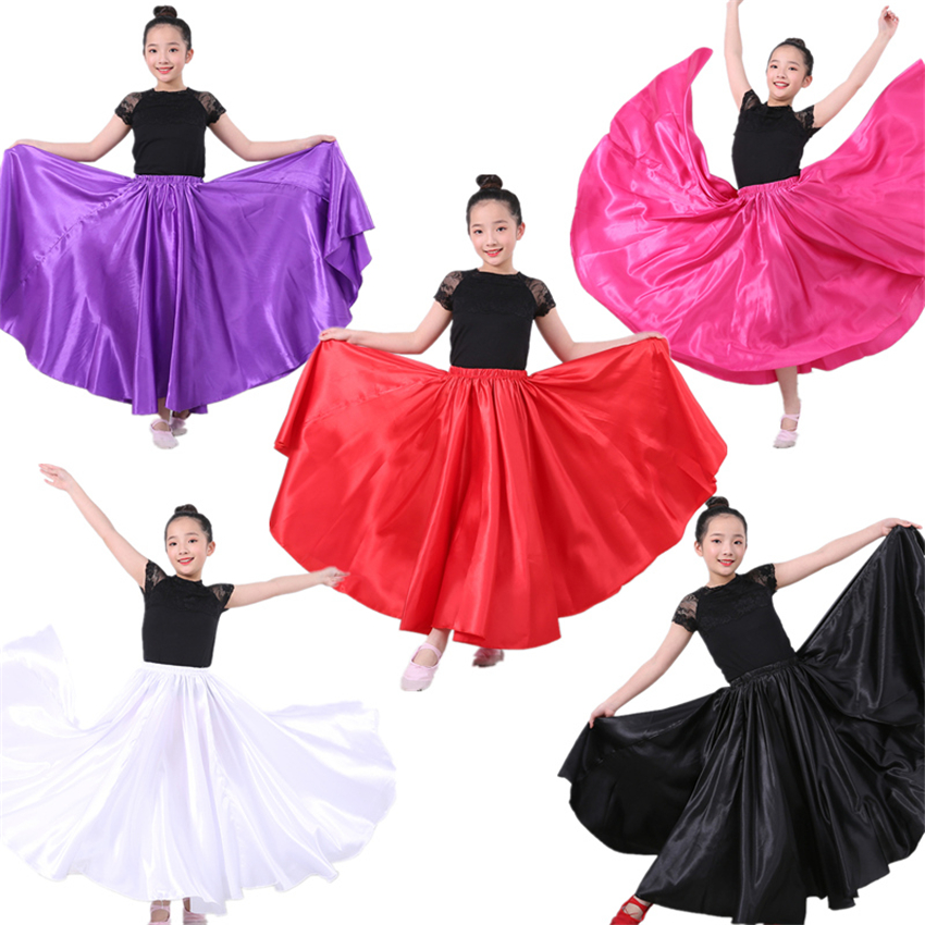 New Girls Flamenco Skirt Spanish Dance Dress Practice Competition Stage Chorus Performance Costuems for Kids Flamengo Skirts